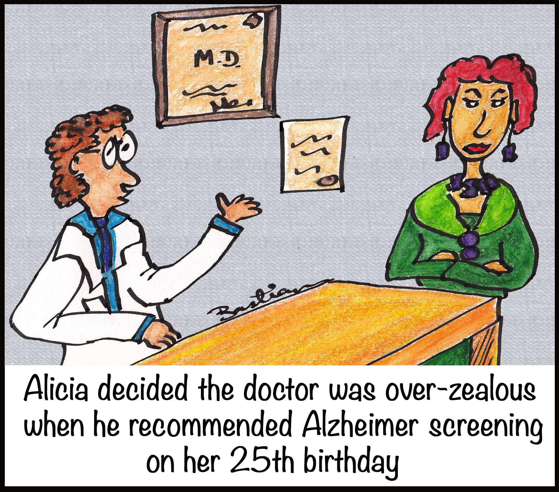 Cartoon of Alicia and doctor